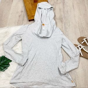 Lucy Long Sleeve Hooded Gray Active Shirt Md D1173